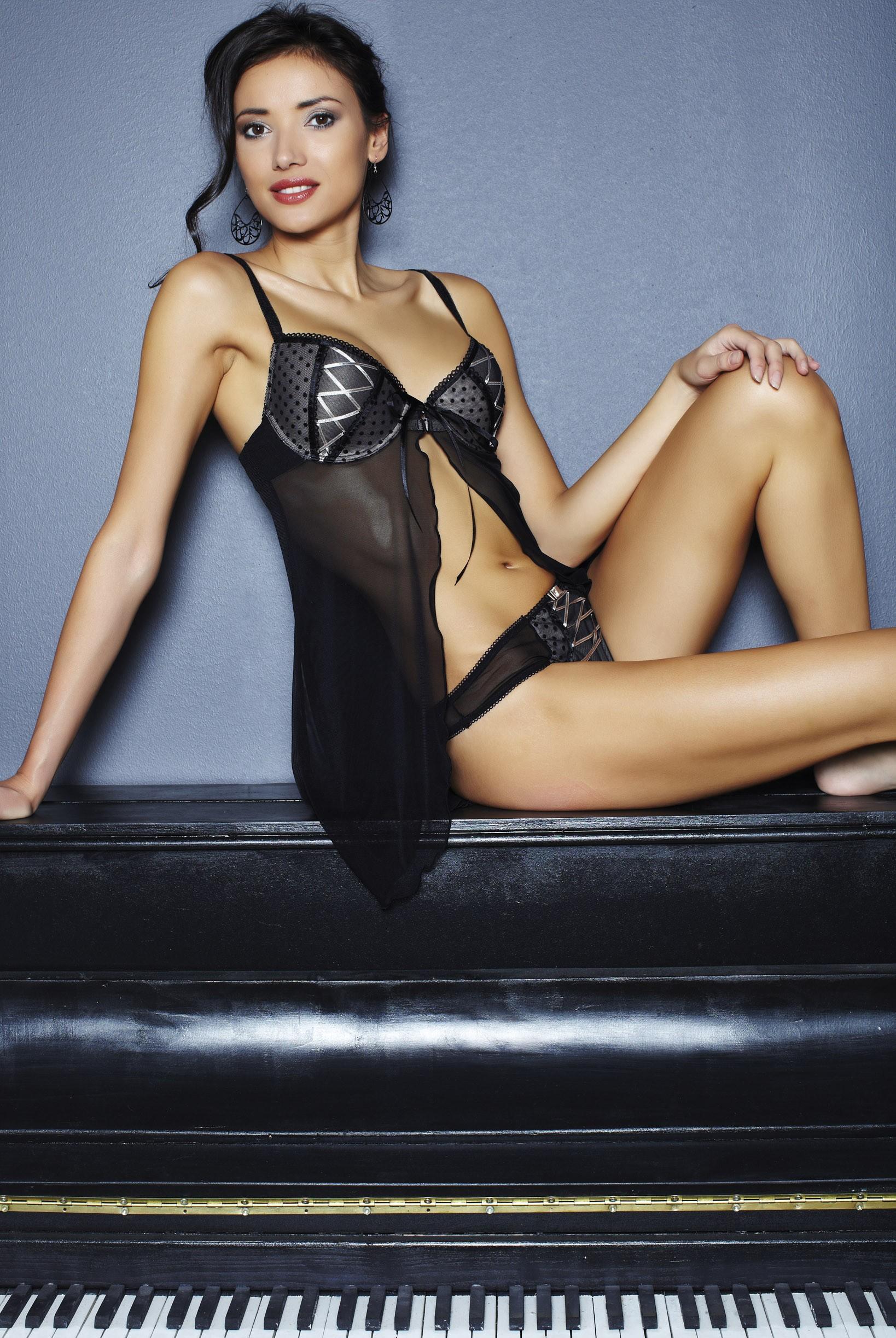 combinette ouverte steffy lingerie friponne noire