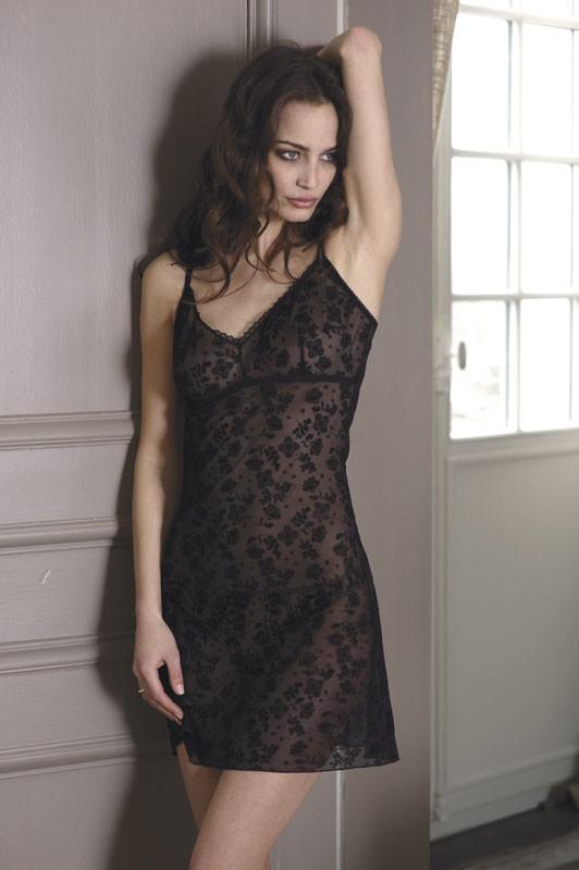 Nuisette et string steffy lingerie vaudou tulle floquée noir